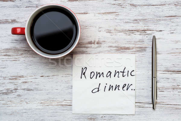 Romántica mensaje escrito servilleta taza café Foto stock © adam121