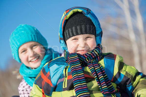 Inverno atividade dois bonitinho crianças equitação Foto stock © adam121