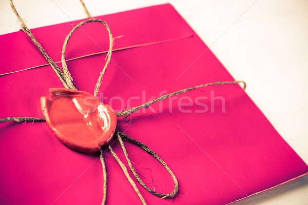 Lettera sigillo tavola rosa busta cera Foto d'archivio © adam121