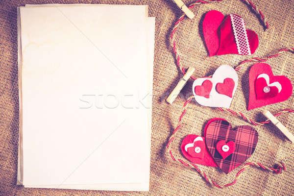 Fai da te cartolina amore cuori carta bianca Foto d'archivio © adam121
