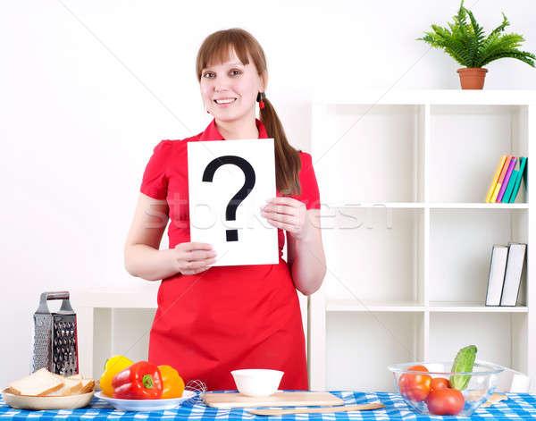 Dziewczyna pytanie podpisania młoda kobieta gotowania Zdjęcia stock © adam121