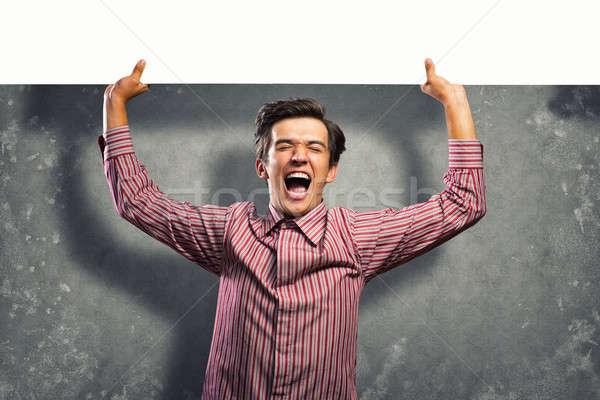 Hombre banner riendo papel Foto stock © adam121