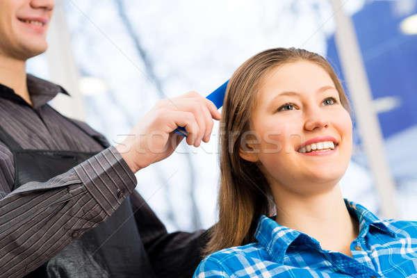 Salon de coiffure client Homme cheveux affaires heureux Photo stock © adam121