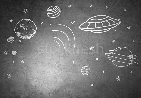 Sen astronauta pusty garnitur konkretnych Zdjęcia stock © adam121