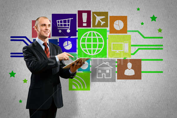 пользователь интерфейс бизнесмен цвета иконки Сток-фото © adam121