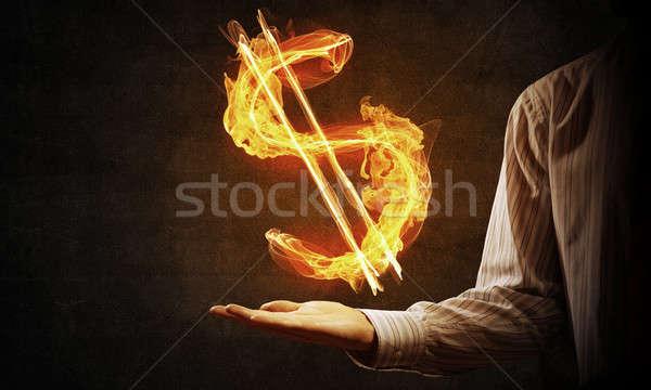Dólar moeda fogo símbolo fechar empresário Foto stock © adam121
