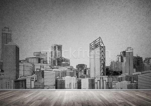 Photo stock: Ville · design · mur · silhouette · modernes · paysage
