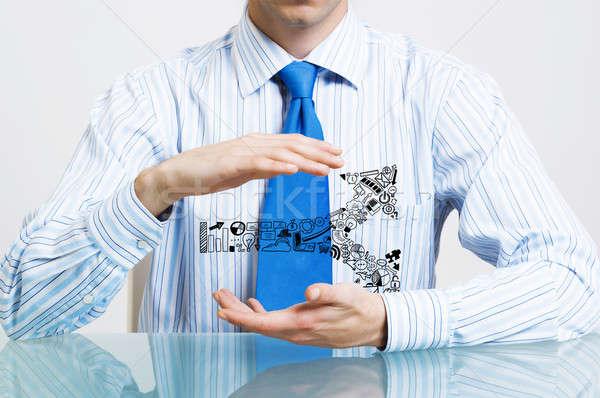 Negocios empresario traje sesión escritorio Foto stock © adam121