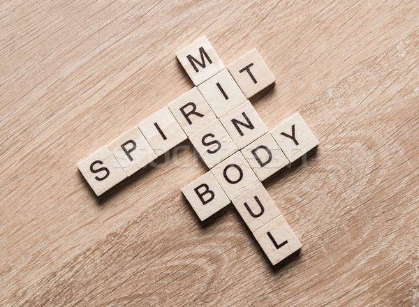 Geest ziel geest lichaam woorden houten Stockfoto © adam121