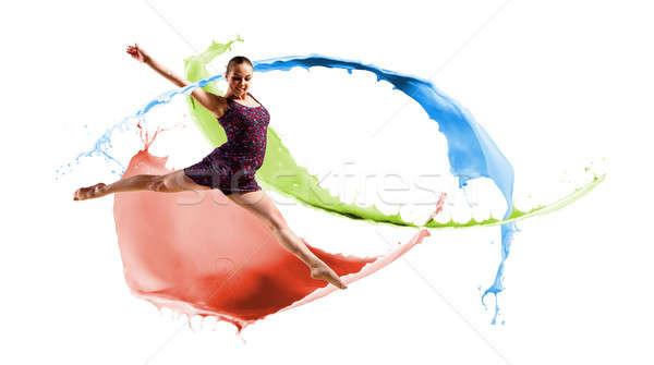 Dançarina abstrato colagem saltando cor pintar Foto stock © adam121