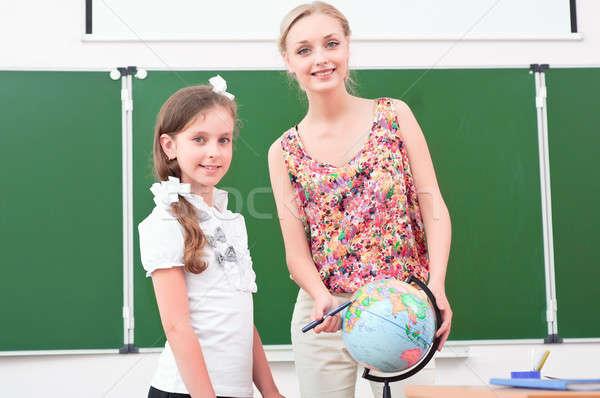 Tanár lecke földrajz áll iskola földgömb Stock fotó © adam121