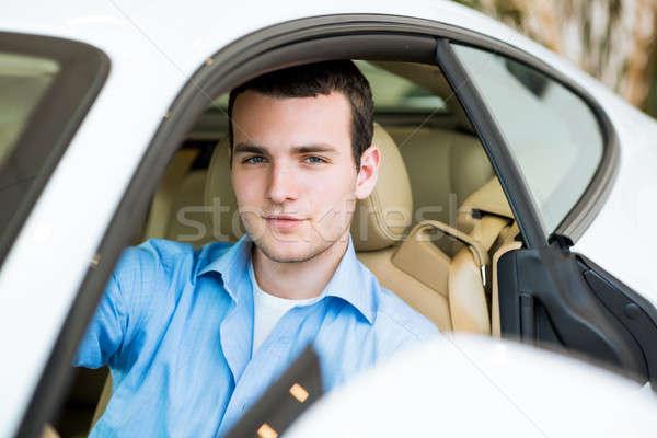 Ritratto uomo auto seduta showroom Foto d'archivio © adam121