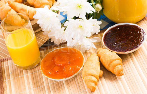 early breakfast, juice, croissants and jam Stock photo © adam121