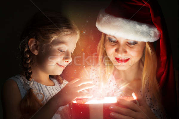 mother and daughter opened a box with a gift Stock photo © adam121