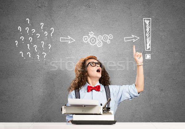 Kız yazar genç yazarak makine Stok fotoğraf © adam121