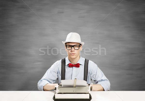 男 ライター 小さな 帽子 眼鏡 入力 ストックフォト © adam121