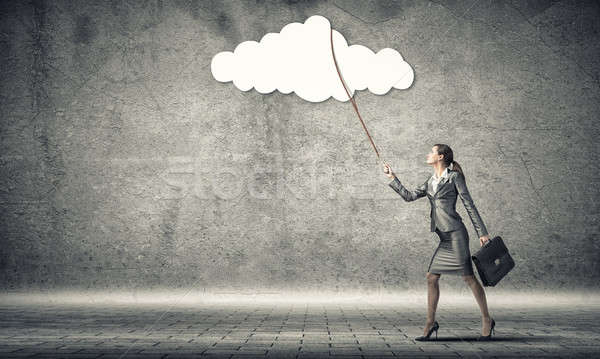 Woman catch cloud Stock photo © adam121