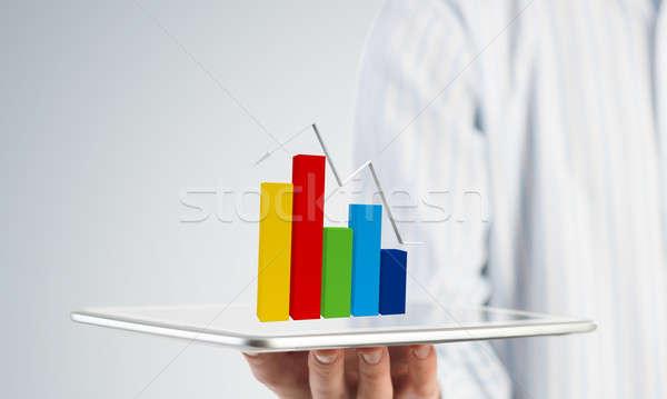 Dynamica markt verkoop zakenman hand Stockfoto © adam121
