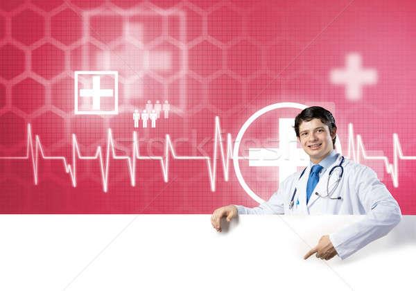 Lekarza banner młodych przystojny biały Zdjęcia stock © adam121