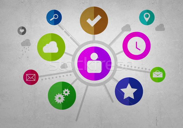 Gebruiker interface groep kleurrijk toepassing iconen Stockfoto © adam121