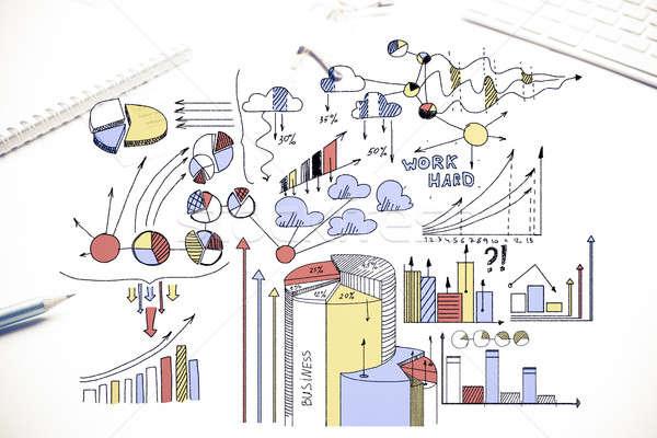 Piano redditizia business colore sketch Foto d'archivio © adam121