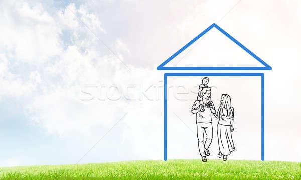Boldog család ház alkat ingatlan szimbólum felhők Stock fotó © adam121