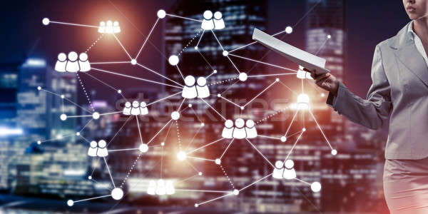 Concept of modern business networking that connect and cooperate Stock photo © adam121