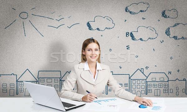 Designer in process of creative work Stock photo © adam121