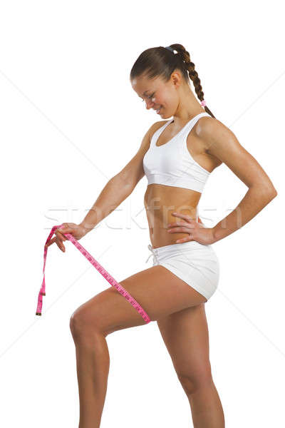 Sportos nő mér comb kép fiatal Stock fotó © adam121