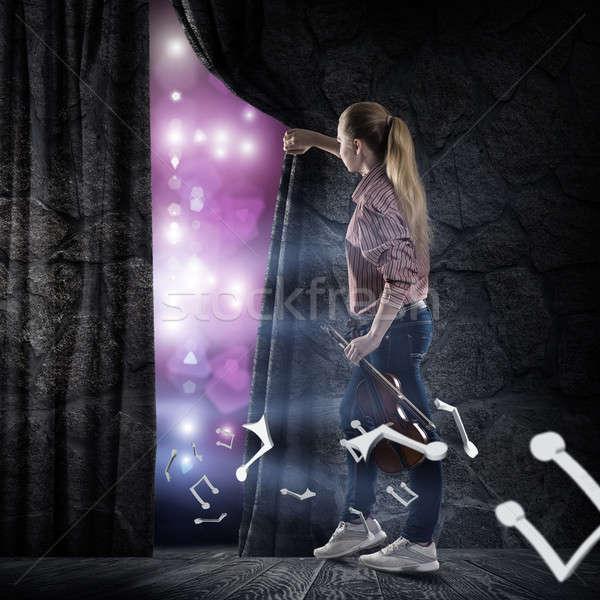 Genç kadın perde görüntü arkasında konser ışıklar Stok fotoğraf © adam121