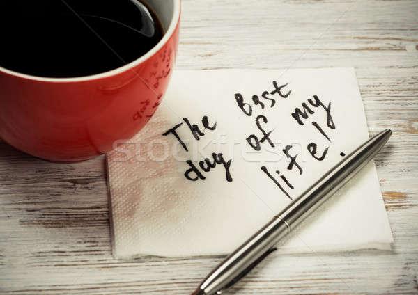 Message written on napkin Stock photo © adam121