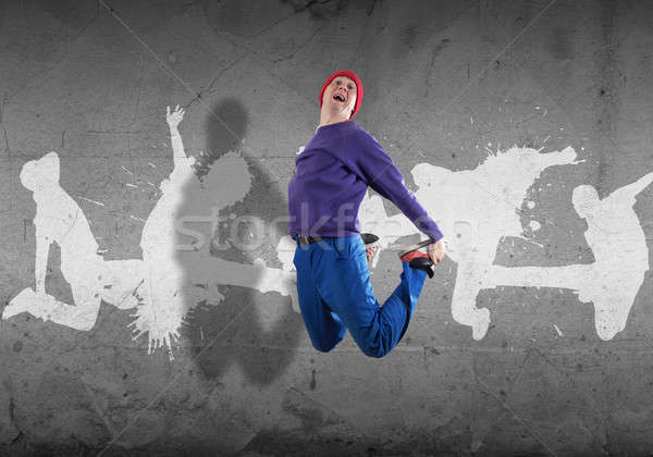 Hip hop danseur jeunes Aller silhouettes gris Photo stock © adam121