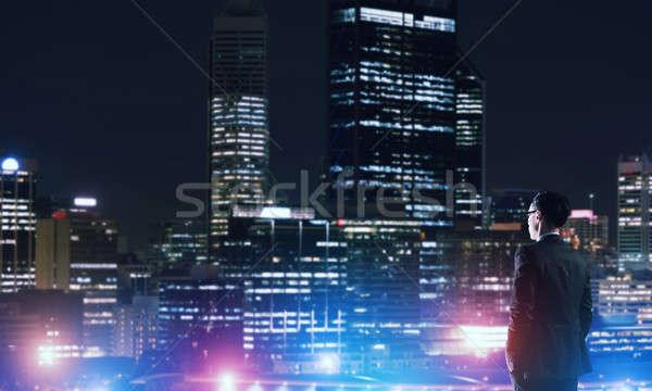 Affaires nuit ville élégante valise Photo stock © adam121