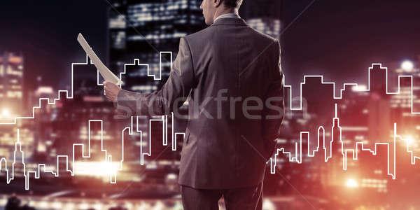 человека архитектора инженер строительство вид сзади Сток-фото © adam121
