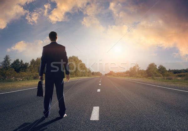 út siker üzletember egyenes út aszfalt Stock fotó © adam121