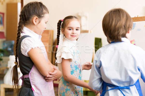 Kinderen trekken foto's tekening les glimlach Stockfoto © adam121