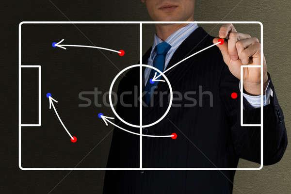 Diagrama jogo de futebol imagem treinador mão esportes Foto stock © adam121