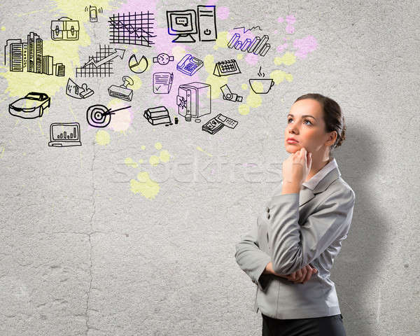 thinking business woman Stock photo © adam121