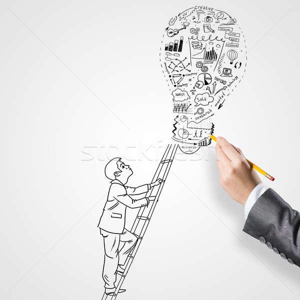 アイデア 成功 ビジネスマン 手 図面 ストックフォト © adam121