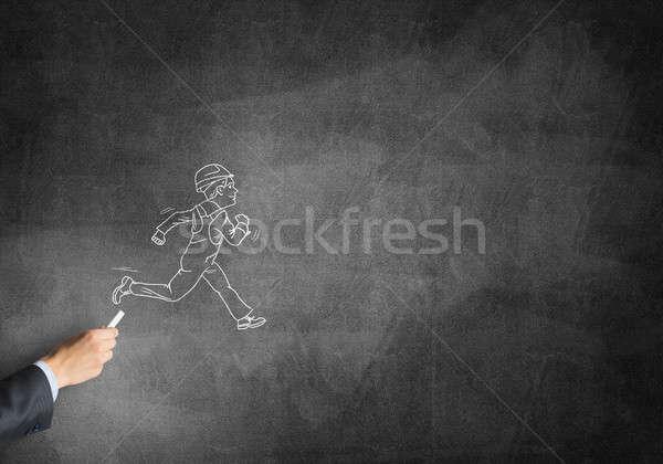 Caricatura builder uomo maschio mano disegno Foto d'archivio © adam121