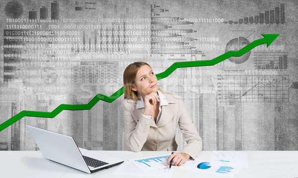 Preparing her financial report Stock photo © adam121