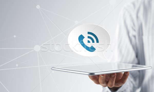 Hívás alkalmazás ikon üzletember kezek bemutat Stock fotó © adam121