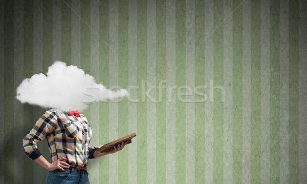 Girl with head in cloud Stock photo © adam121