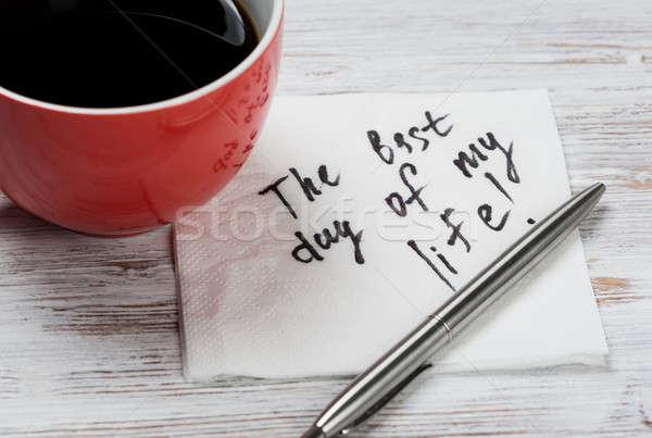 сообщение написанный салфетку Кубок кофе бизнеса Сток-фото © adam121