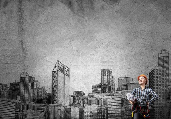 Mijn ontwikkeling plan ingenieur vrouw blauwdrukken Stockfoto © adam121