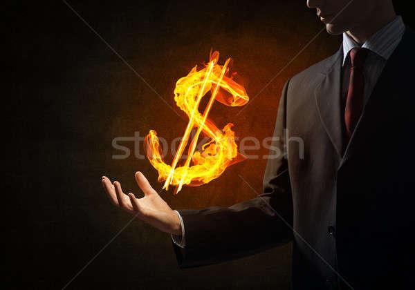 Dollár valuta tűz szimbólum zárt üzletember Stock fotó © adam121