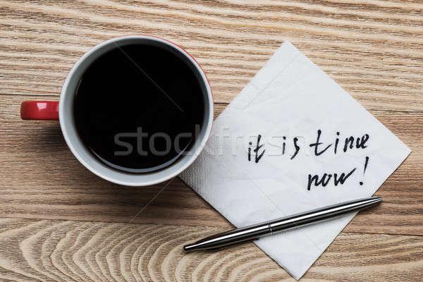Stock photo: Romantic message written on napkin