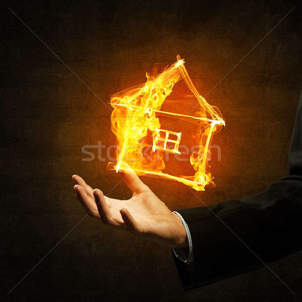 House fire icon in palm Stock photo © adam121