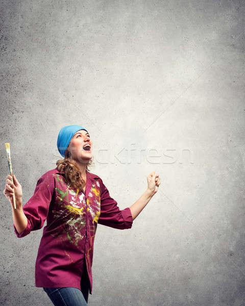 Festmény világ fiatal csinos művész nő Stock fotó © adam121