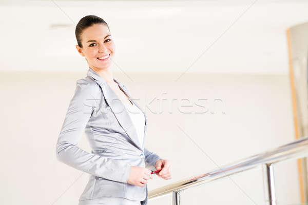 Business woman stałego lobby biuro balkon Zdjęcia stock © adam121